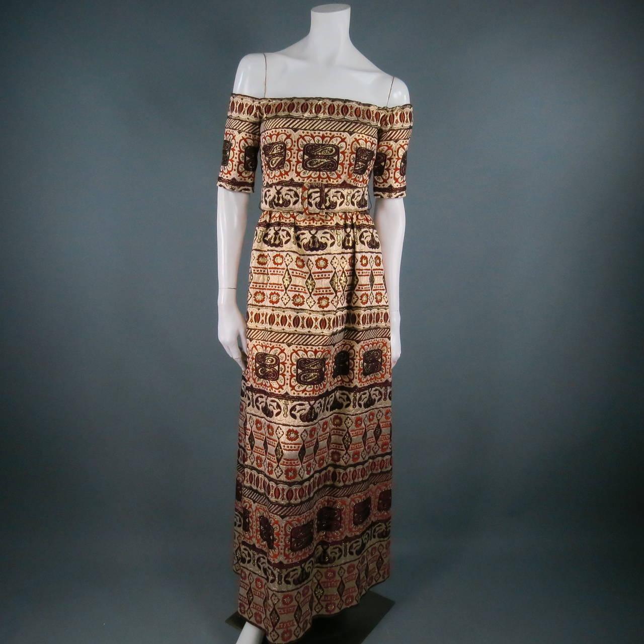Vintage OSCAR DE LA RENTA Size 2 Gold Brocade Evening Gown 4