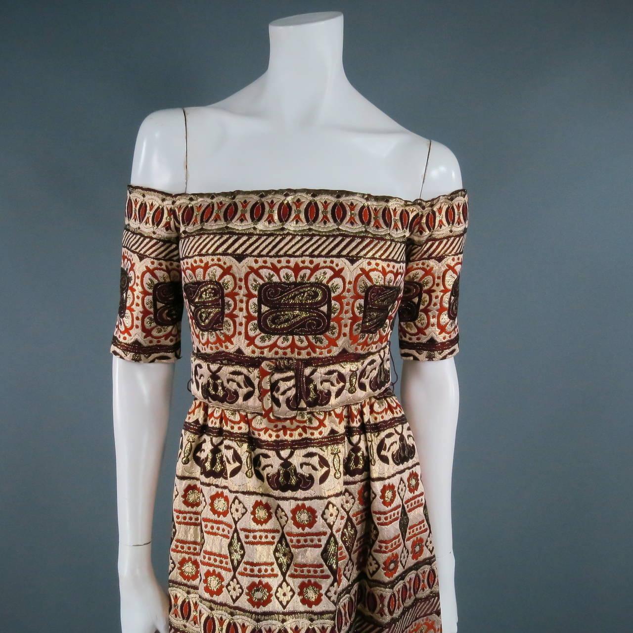 Vintage OSCAR DE LA RENTA Size 2 Gold Brocade Evening Gown 5