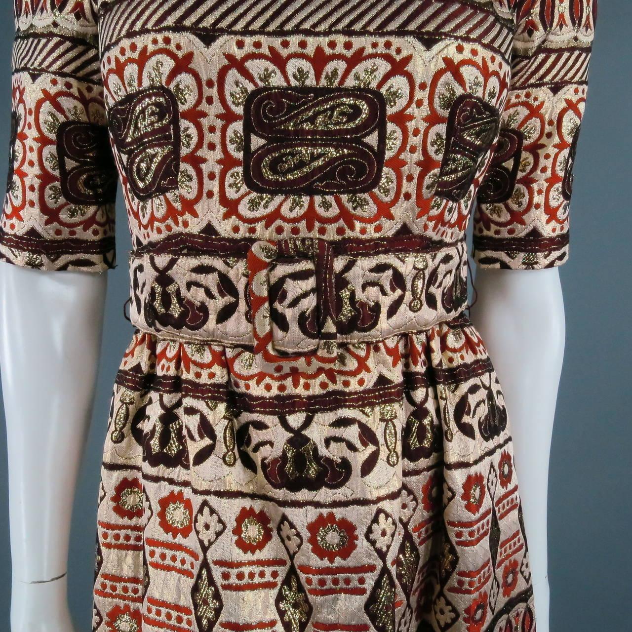 Vintage OSCAR DE LA RENTA Size 2 Gold Brocade Evening Gown 6