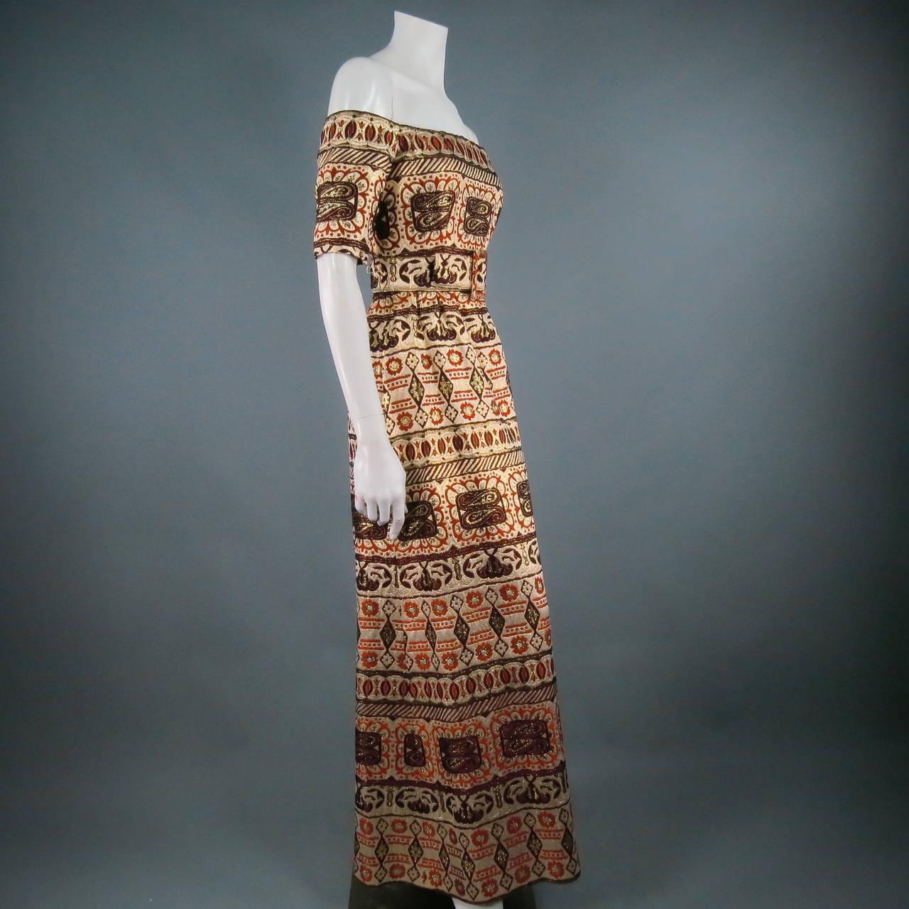 Vintage OSCAR DE LA RENTA Size 2 Gold Brocade Evening Gown 7