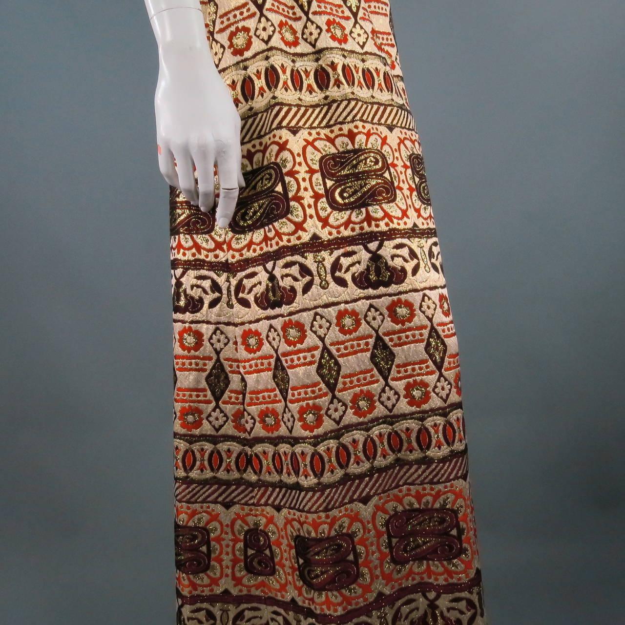 Vintage OSCAR DE LA RENTA Size 2 Gold Brocade Evening Gown 8
