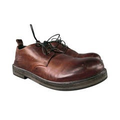 MARSELL Size 8 Burgundy Distressed Leather Lace Up with Contrasting Black Sole