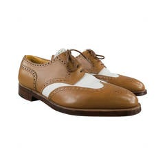 """JOHN LOBB """"DARBY"""" Size 9.5 Tan Leather Spectator Wingtip Lace Up"""