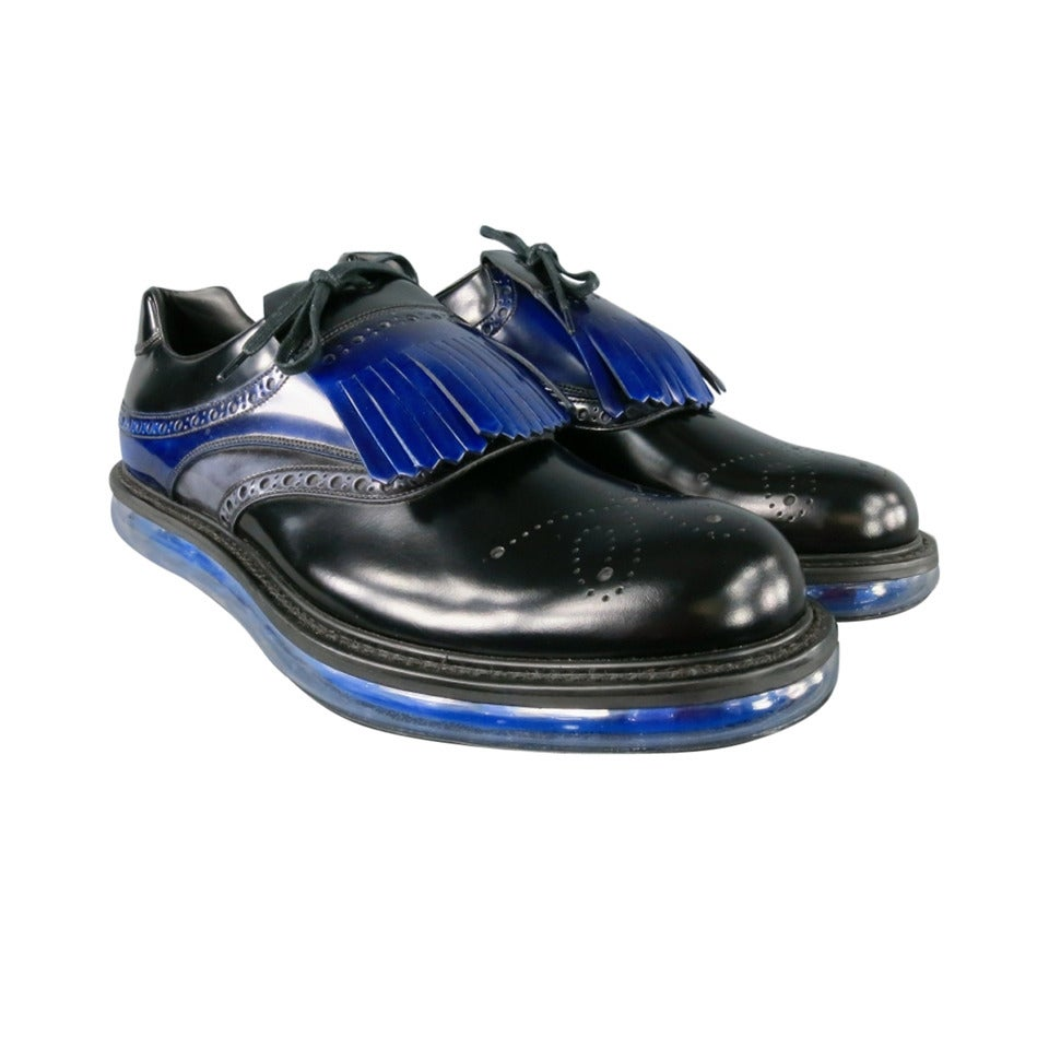 Prada Size 13 Leather Black Lace Ups W Atomic Blue Fringe