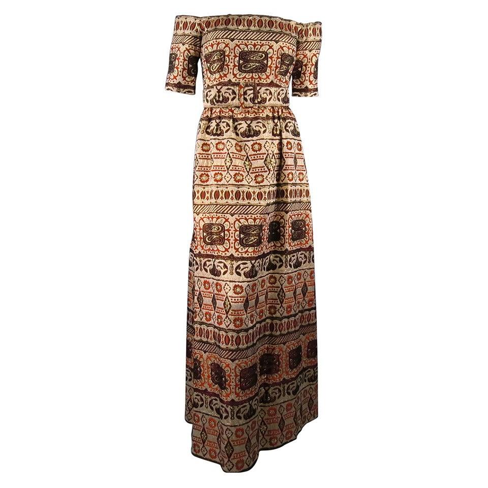 Vintage OSCAR DE LA RENTA Size 2 Gold Brocade Evening Gown 1