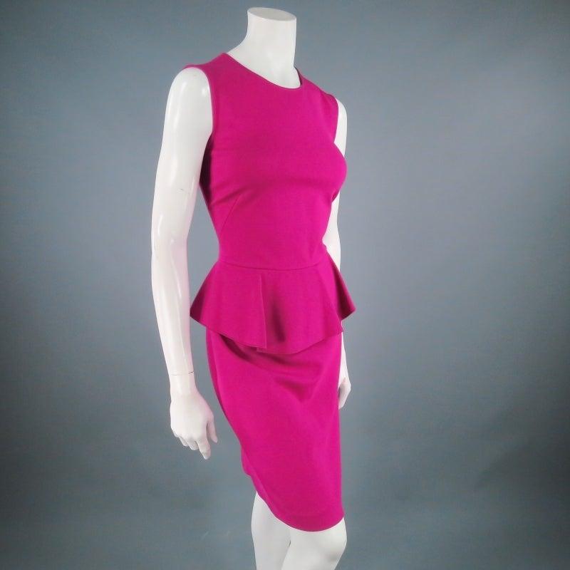 Brand New EMILIO PUCCI Size 12 Fuschia Peplum Dress 3