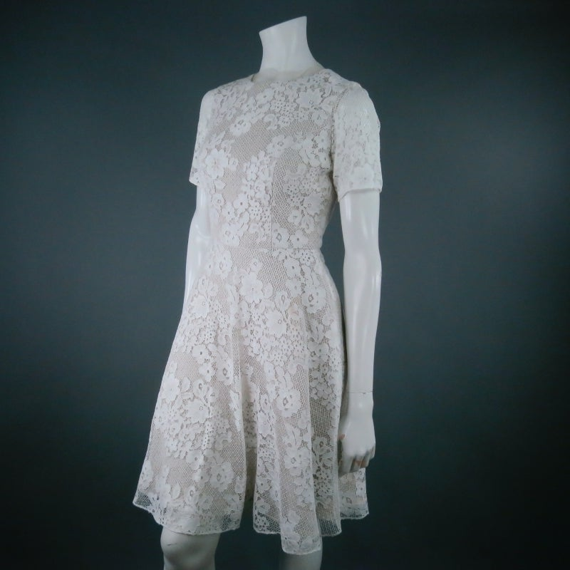 MONIQUE LHUILLIER Size 4 Off White Crochet Lace Cocktail Dress 3