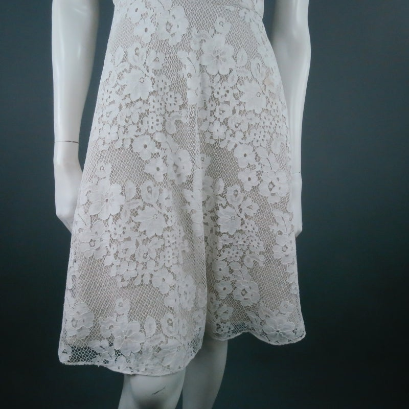 MONIQUE LHUILLIER Size 4 Off White Crochet Lace Cocktail Dress 8
