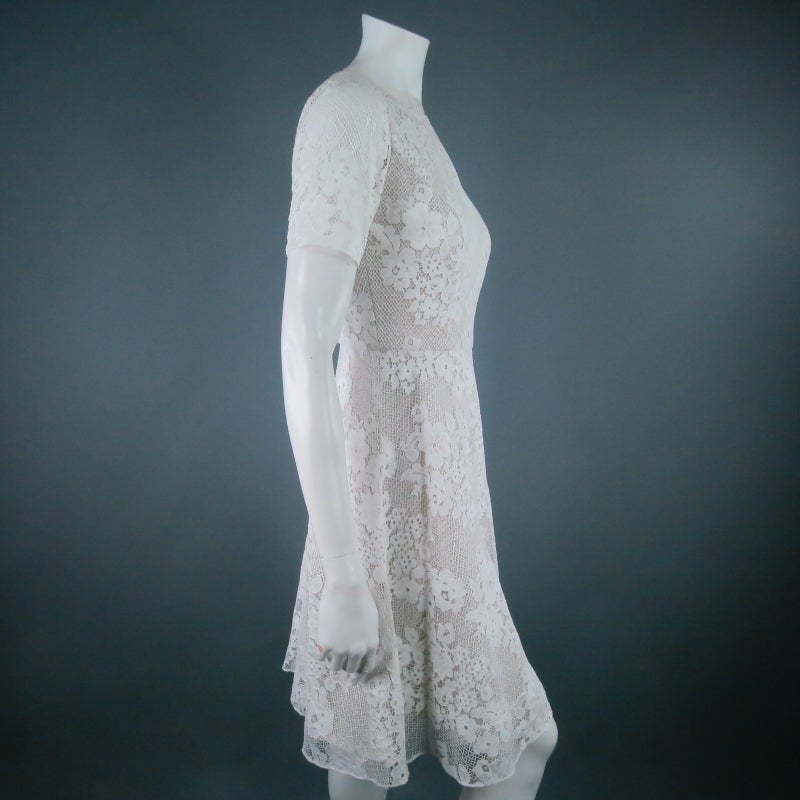 MONIQUE LHUILLIER Size 4 Off White Crochet Lace Cocktail Dress 2