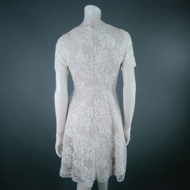 MONIQUE LHUILLIER Size 4 Off White Crochet Lace Cocktail Dress 4