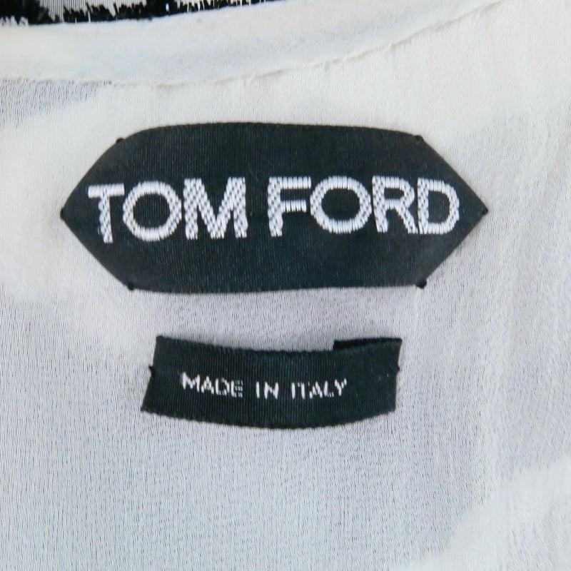 Fall 2013's TOM FORD Size 6 Zebra Tinsel Silk Pleated Dress 4