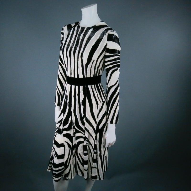 Fall 2013's TOM FORD Size 6 Zebra Tinsel Silk Pleated Dress 6