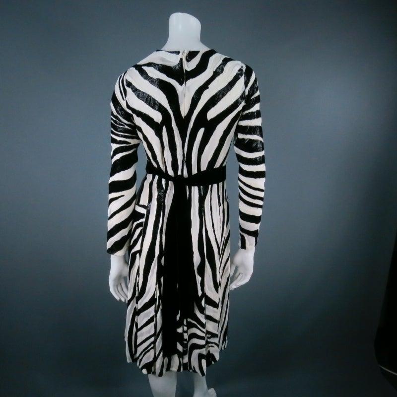 Fall 2013's TOM FORD Size 6 Zebra Tinsel Silk Pleated Dress 2