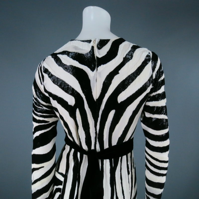 Fall 2013's TOM FORD Size 6 Zebra Tinsel Silk Pleated Dress For Sale 1
