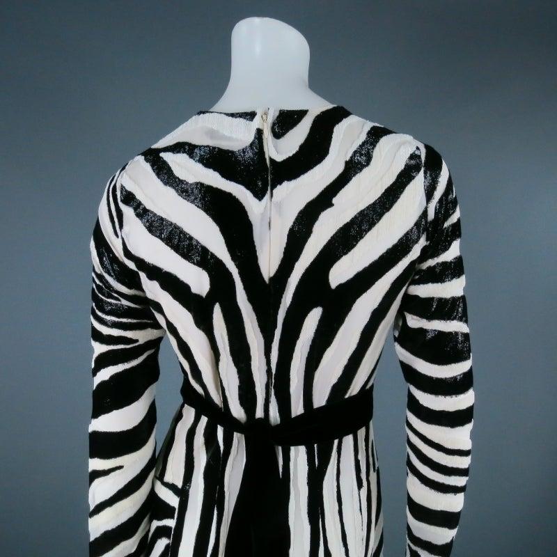 Fall 2013's TOM FORD Size 6 Zebra Tinsel Silk Pleated Dress 5