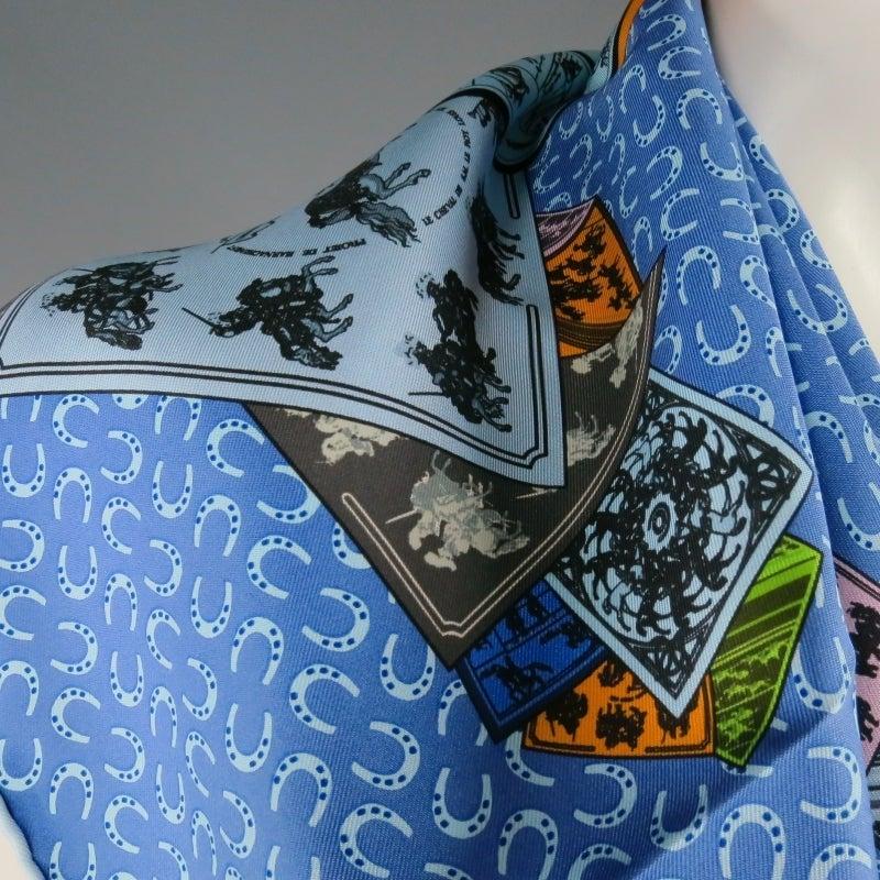 HERMES -A Cheval Sur Mon Carre- Horse Print Blue Silk ...