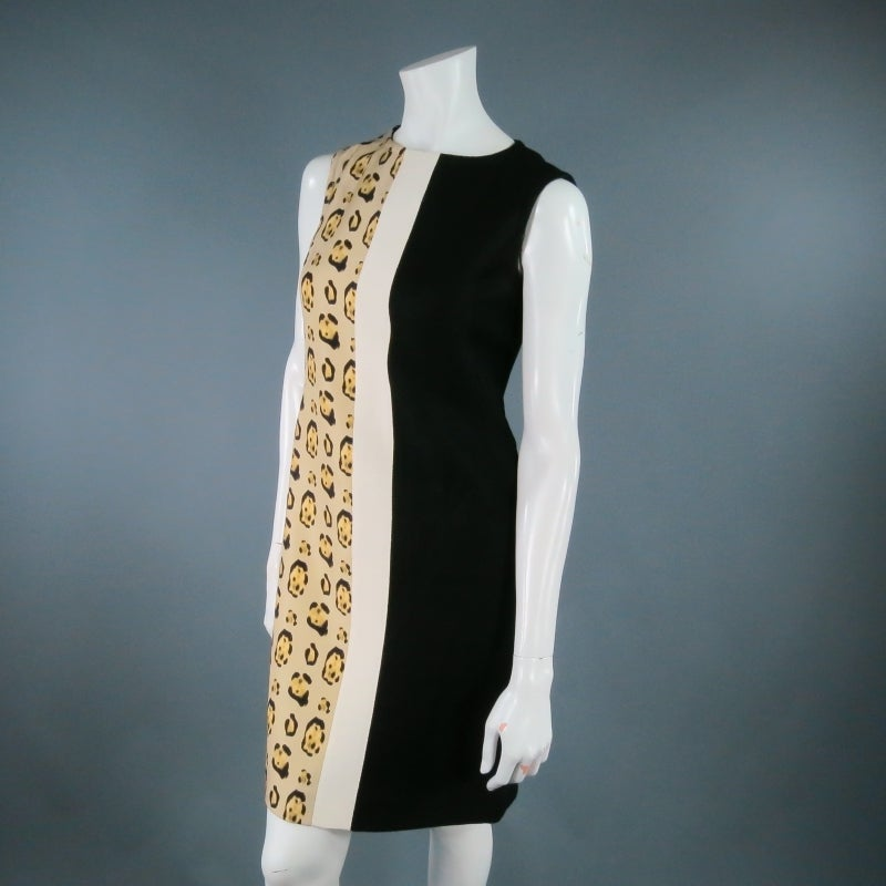 GIAMBATTISTA VALLI Size 6 Leopard Color Block Shift Dress 2