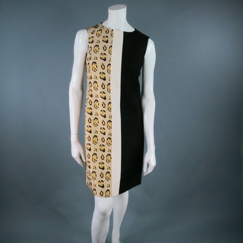 GIAMBATTISTA VALLI Size 6 Leopard Color Block Shift Dress 3