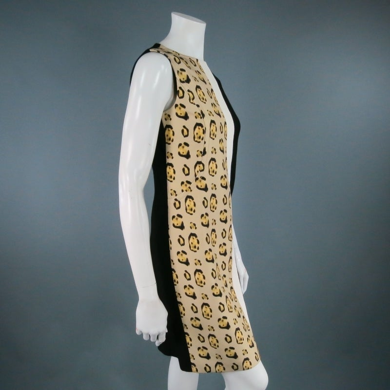 GIAMBATTISTA VALLI Size 6 Leopard Color Block Shift Dress 6