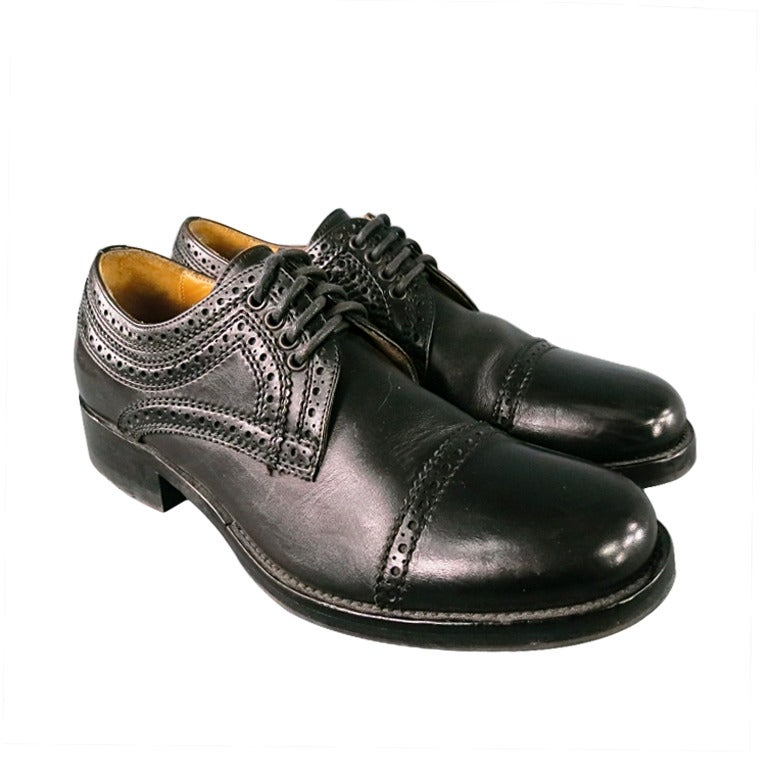 Alexander Mcqueen Men's Black Leather Captoe Lace Up Wood Stack Heel dress shoe For Sale