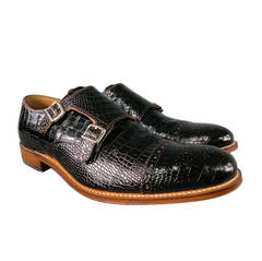 GRENSON Size 11 Black Embossed Leather Monk-Strap Loafers w/ Wood Sole