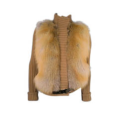 GUCCI Size M Tan Camel Hair Knit Sweater Jacket With Fox Fur