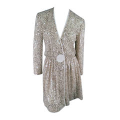 GIORGIO ARMANI Size S Beige Sequin Chiffon Wrap Dress