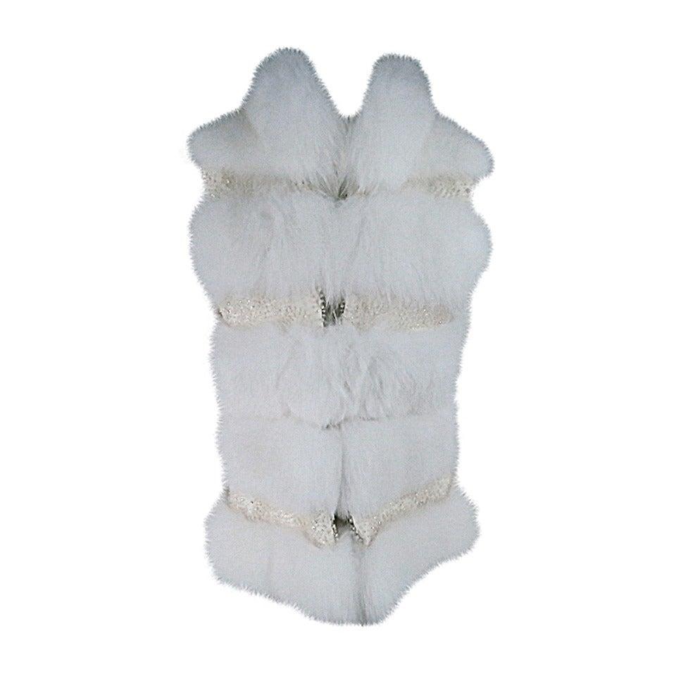 Dennis Basso Beaded White Fox Fur Vest