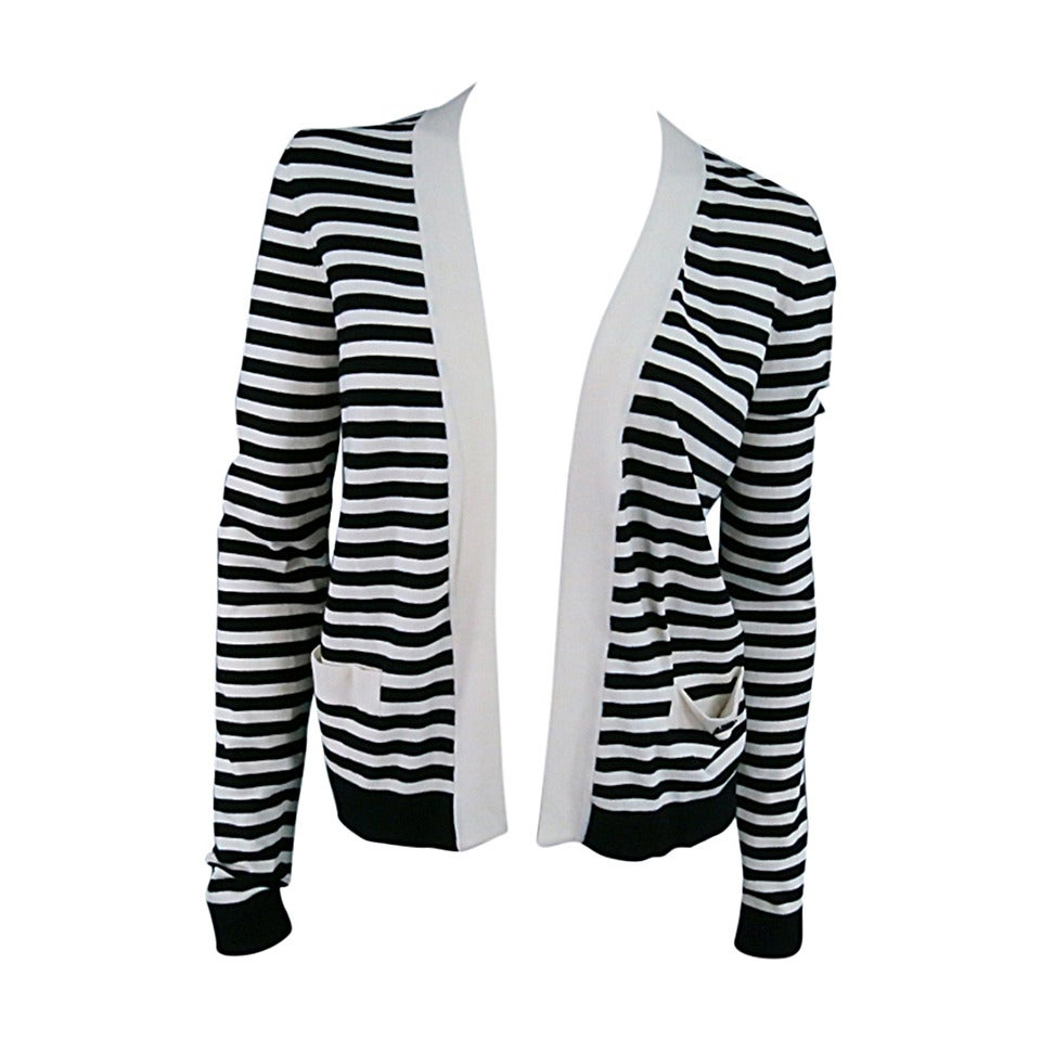 CHANEL Size 6 Cream/Black Striped Cardigan For Sale