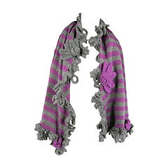 CHANEL Gray/Purple Knit Flower Fringe Cashmere Shawl/Scarf
