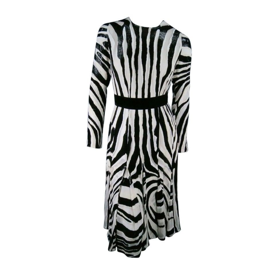 Fall 2013's TOM FORD Size 6 Zebra Tinsel Silk Pleated Dress 1