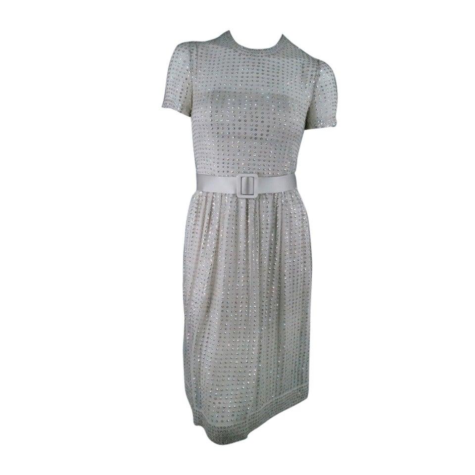 Randi Rahm Mint Silver Beaded Sequin Chiffon Cocktail Dress, Size 4 ...