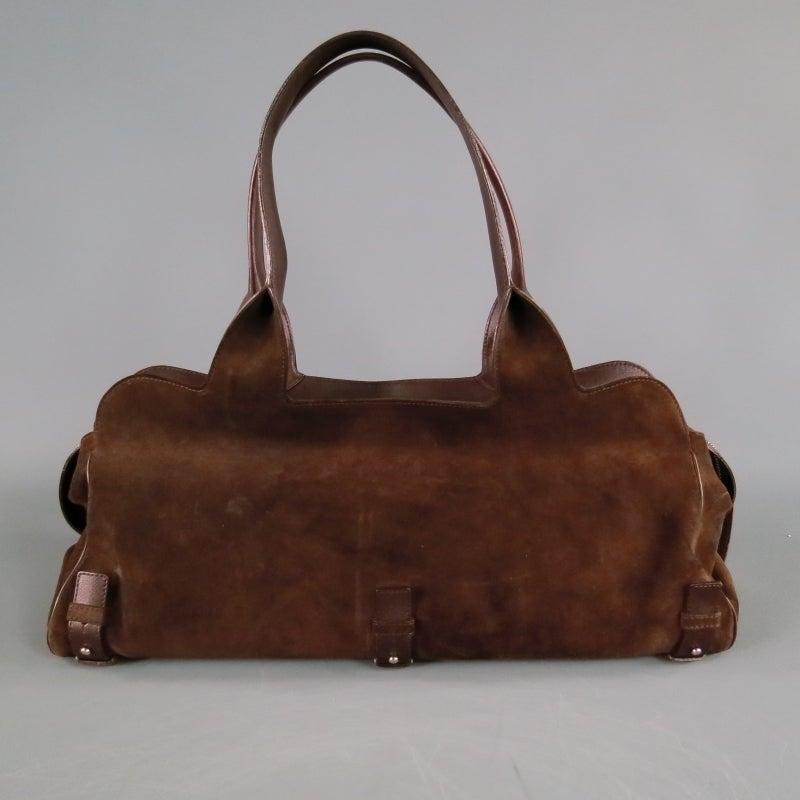 This is a very unique Salvatore Ferragamo handbag. It is a brown suede  shoulder bag 065fad21e630e