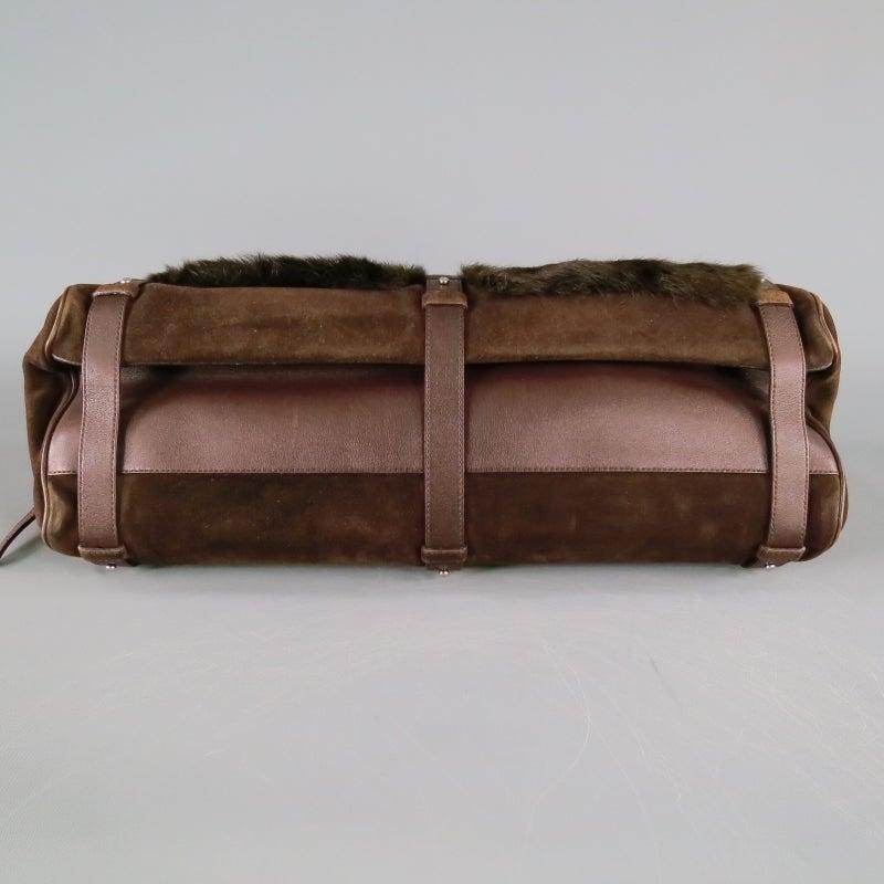 Women s SALVATORE FERRAGAMO Brown Suede Rabbit Fur Shoulder Handbag For Sale 405f911e2c2f8