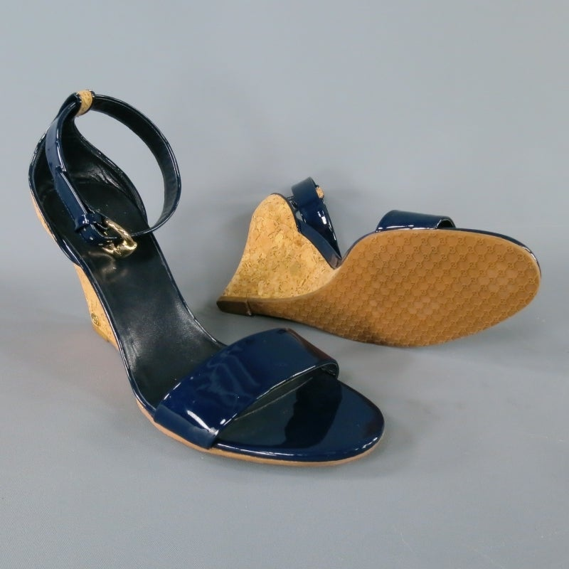 GUCCI Size 9.5 Navy Patent Leather Strappy Wedges at 1stdibs