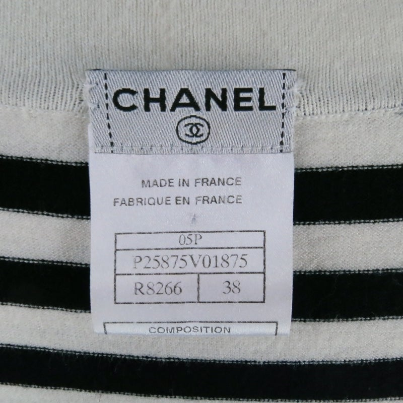 Women's CHANEL Size 6 Cream/Black Striped Cardigan For Sale