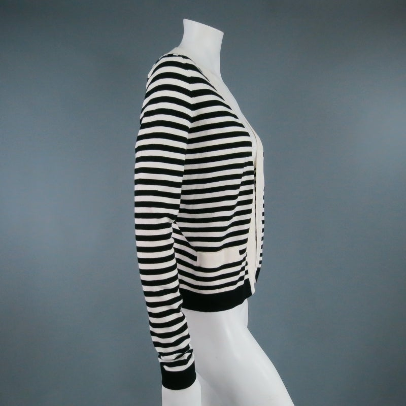 Gray CHANEL Size 6 Cream/Black Striped Cardigan For Sale