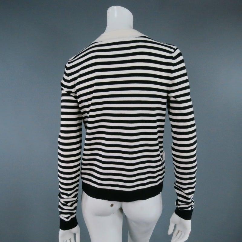 CHANEL Size 6 Cream/Black Striped Cardigan 4