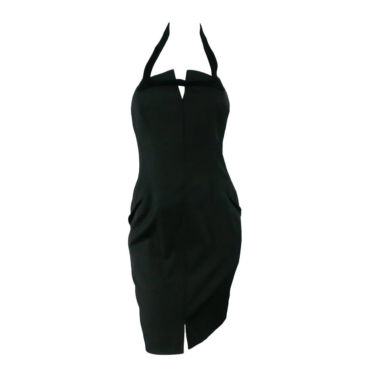 THIERRY MUGLER Size 6 Black Cotton/Wool Cocktail Dress 1