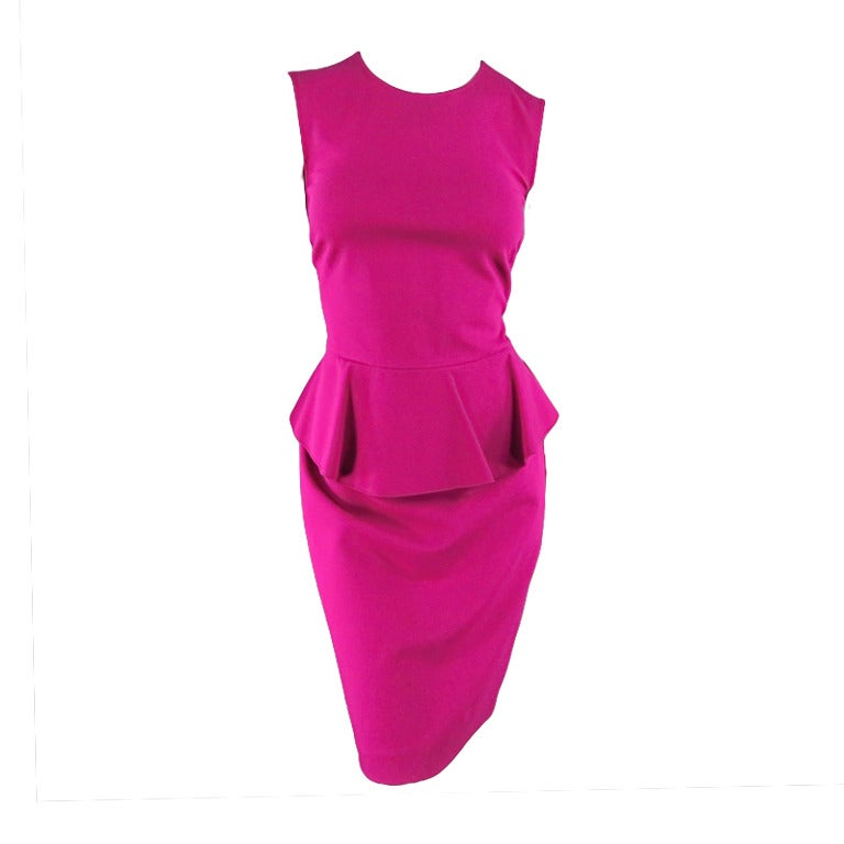 Brand New EMILIO PUCCI Size 12 Fuschia Peplum Dress 1
