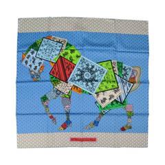 HERMES -A Cheval Sur Mon Carre- Horse Print Blue Silk Scarf