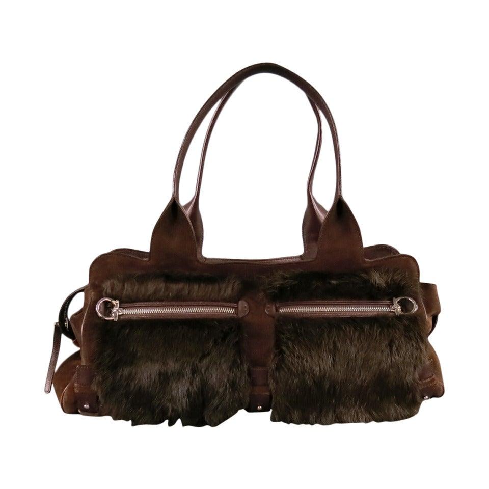 SALVATORE FERRAGAMO Brown Suede Rabbit Fur Shoulder Handbag at 1stdibs 44684bf5a04e0