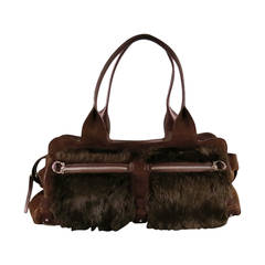 SALVATORE FERRAGAMO Brown Suede Rabbit Fur Shoulder Handbag