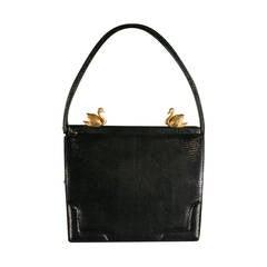 1950's MARTIN VAN SCHAAK Black Lizard Evening Handbag