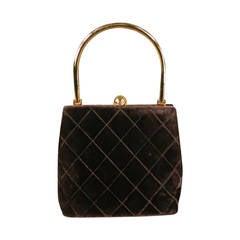 Vintage CHANEL Brown Quilted Velvet Gold Handle Evening Handbag