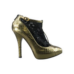 DOLCE & GABBANA Size 8 Black/Gold T-strap Python Skin Lace Boots