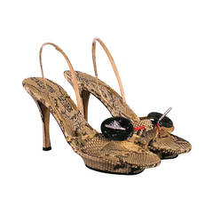 Rene Caovilla Natural Leather Python Rhinestone Platform Sandals