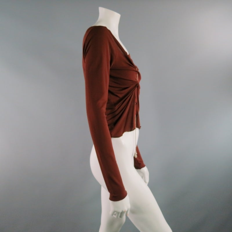 JEAN PAUL GAULTIER Size 8 Brown Rayon Dress Top In Excellent Condition For Sale In San Francisco, CA