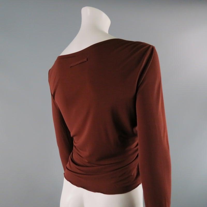 Women's JEAN PAUL GAULTIER Size 8 Brown Rayon Dress Top For Sale