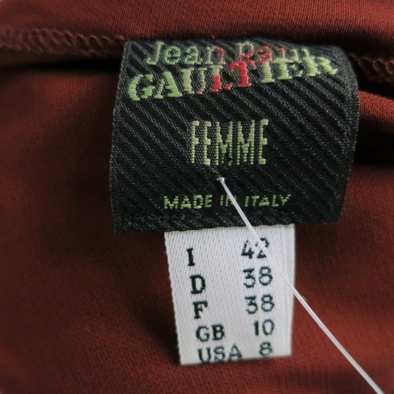 JEAN PAUL GAULTIER Size 8 Brown Rayon Dress Top For Sale 2